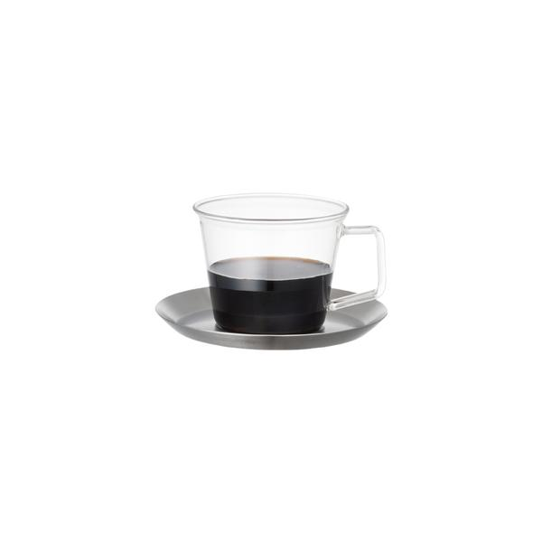 KINTO CAST coffee cup & saucer stainless steel, 220 ml