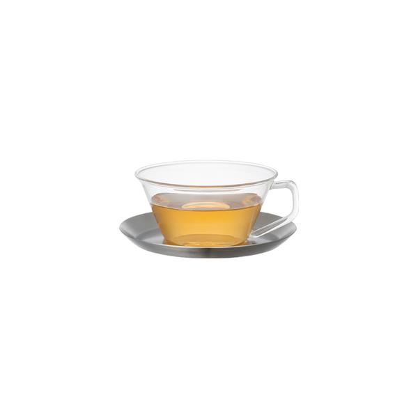 KINTO CAST tea cup & saucer stainless steel, 220 ml